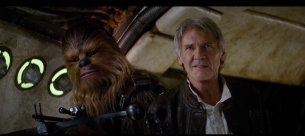 Han Solo and Chewbacca back onboard the Millennium Falcon