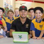Jarryd Hayne visits his old school to talk cyberbullying and online safety