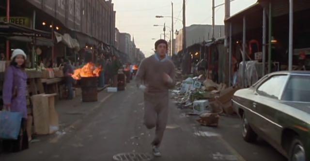Rocky runs through the Italian Markets