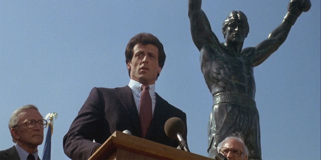 The Rocky Statue is seen for the first time in Rocky III