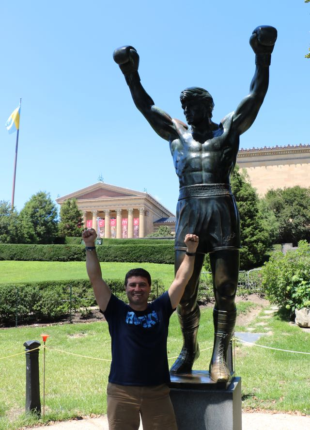 Tech Guide editor Stephen Fenech and the Rocky Statue