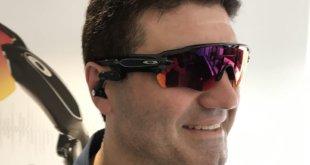 Tech Guide editor Stephen Fenech wearing the Radar Pace smart eyewear