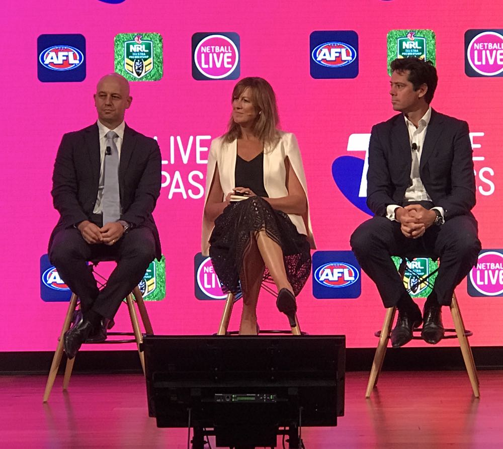 (From left) NRL CEO Todd Greenberg, Netball Australia CEO Marne Fechner and AFL CEO Gillon McLachlan at the Telstra event