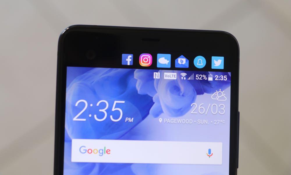 The HTC U Ultra secondary display