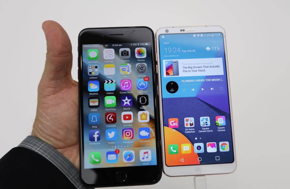 The iPhone 7 Plus next to the LG G6 - the iPhone has a smaller 5.5-inch screen but is larger than the G6