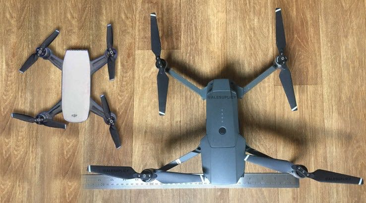 Leaked image of the DJI Spark next to the larger DJI Mavic Pro