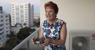 Pauline Hanson flying a DJI Mavic Pro last week in Townsville