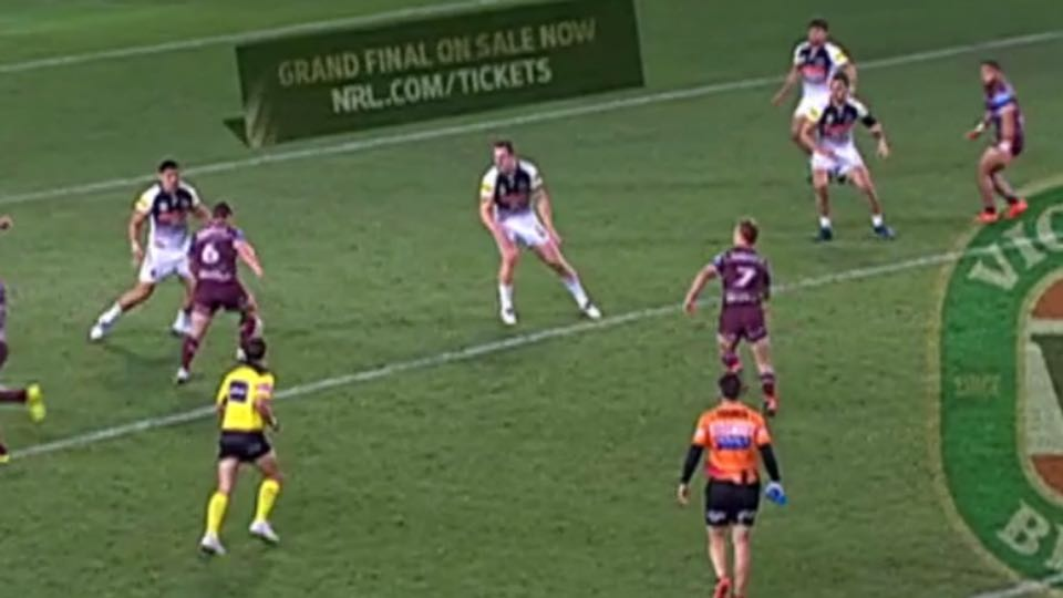 Manly's Dylan Walker appears to be onside but was denied a try by the NRL Bunker