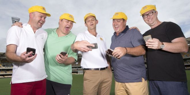 "Former Australian cricket legend Adam Gilchrist (middle) hangs with cricket fans Nick Loutkovsky, Gareth Smith, Peter Reylolds and Luke Murnane as they try out the new XXXX ""Goldie"" hat, available this summer. Pic Jono Searle for ""The Photo Pitch"""