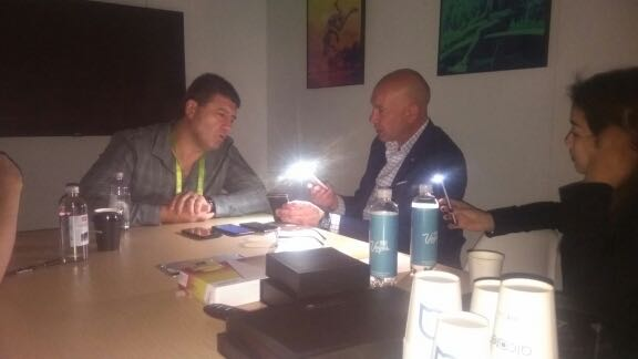 Tech Guide editor Stephen Fenech in his Alcatel meeting during the CES blackout