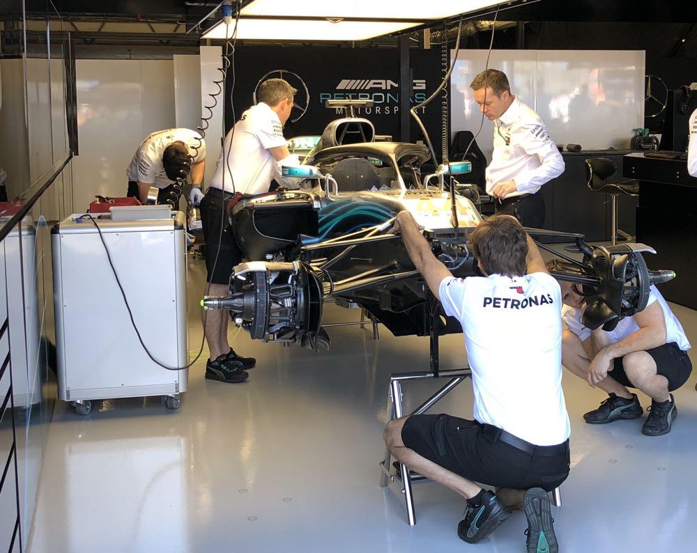 The Mercedes Benz garage at the Australian Grand Prix