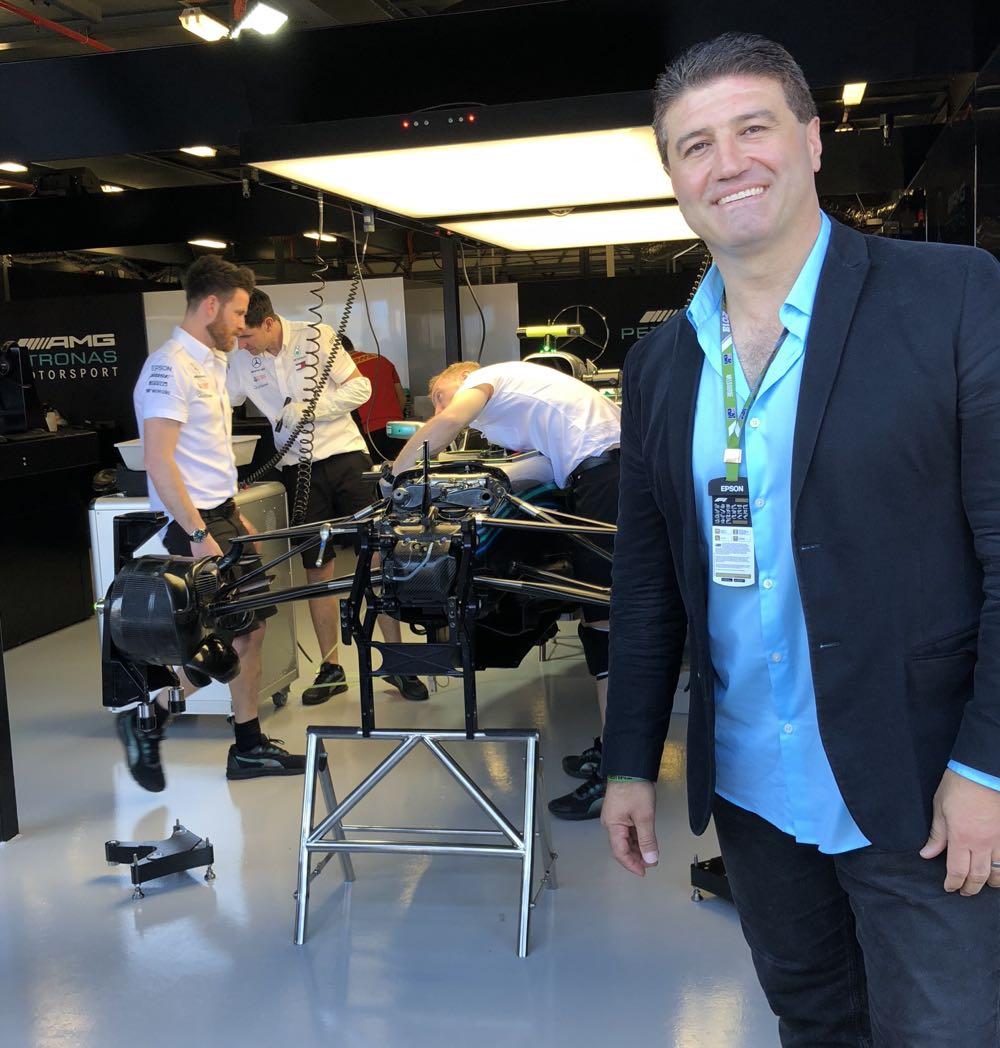 Tech Guide editor Stephen Fenech and Lewis Hamilton's F1 car