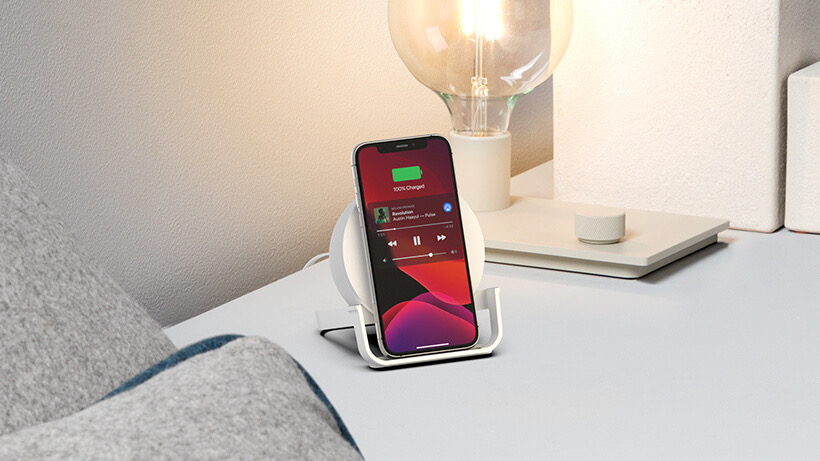 Belkin's new Boost Charge Wireless Charging Stand and Speaker lets you enjoy your content while charging