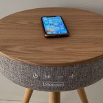 Dakota Side Table is functional furniture – it has a Bluetooth speaker and chargers onboard
