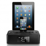 Philips Dual Dock Clock Radio connects and charges any Apple device
